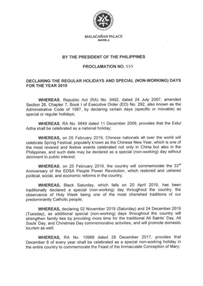 proclamation 2019 holidays philippines