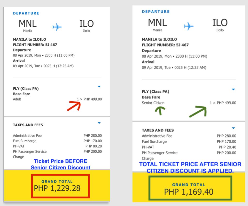 fare discount for senior citizen cebu pacific