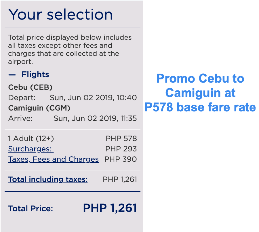 philippine airlines promo cebu to camigin
