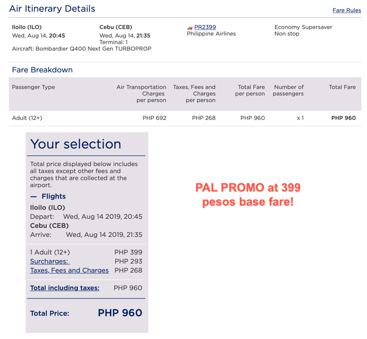 PAL promo 399 base fare