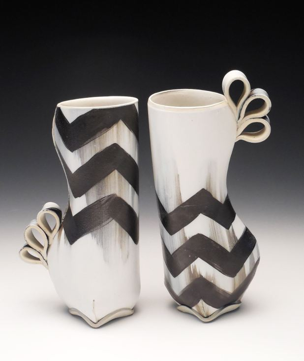 Two Chevron Vases by Samantha Briegel