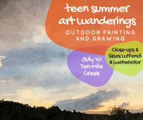 July 10 Ten Mile Creek: Farmland, Botany Closeups & Skies using pencils and watercolors. Picnic lunch. If it's hot we can dip in the creek!