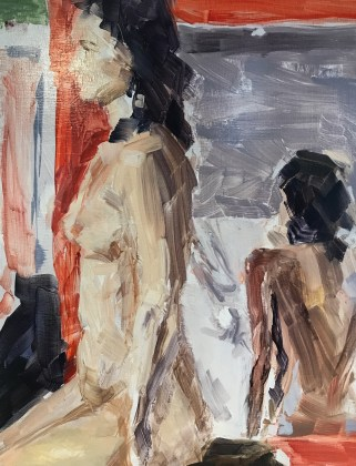 Nude in Mirror, Oil on panel by Elizabeth Hughes Bass