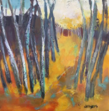 Twilight Walk by Darla Myers, 10x10 encaustic paintings, framed, Available from 1+1=1 Gallery