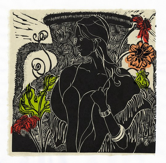 """Wistful"" woodcut print by Ouida Touchon"