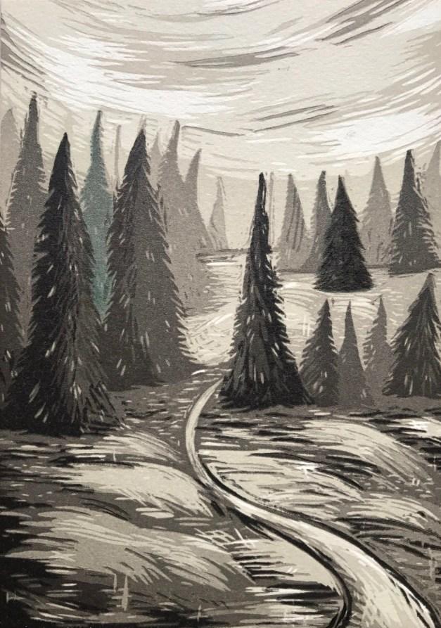 Woodcut print by Lauren Zalewski