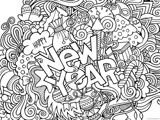 happy new year  coloring pages  111=1