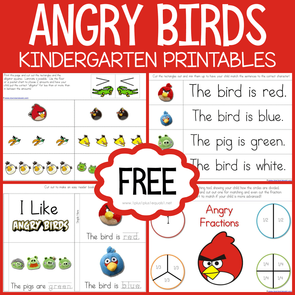 medium resolution of Angry Birds Kindergarten Printables - 1+1+1\u003d1