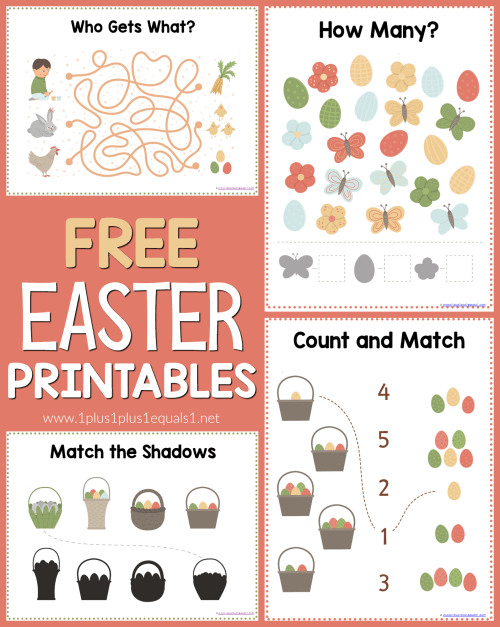 small resolution of Easter Worksheets for Kids - 1+1+1\u003d1