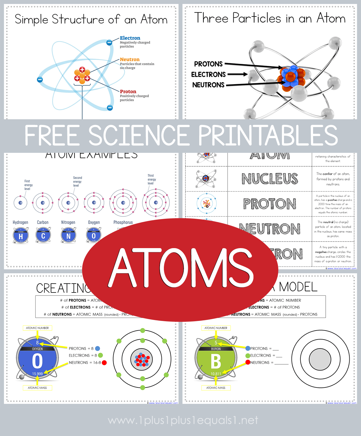 hight resolution of Free Science Printables ~ Atoms - 1+1+1\u003d1