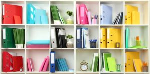 Cube shelf unit attached to wall. White in color with colorful ring binders such as blues, greens, yellows and pinks. Storage Sollution