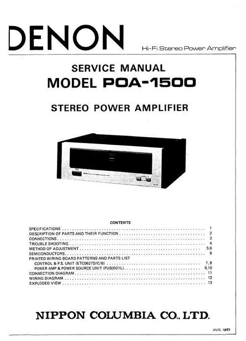 Denon POA-1500 , Power Amplifier , Original Service Manual