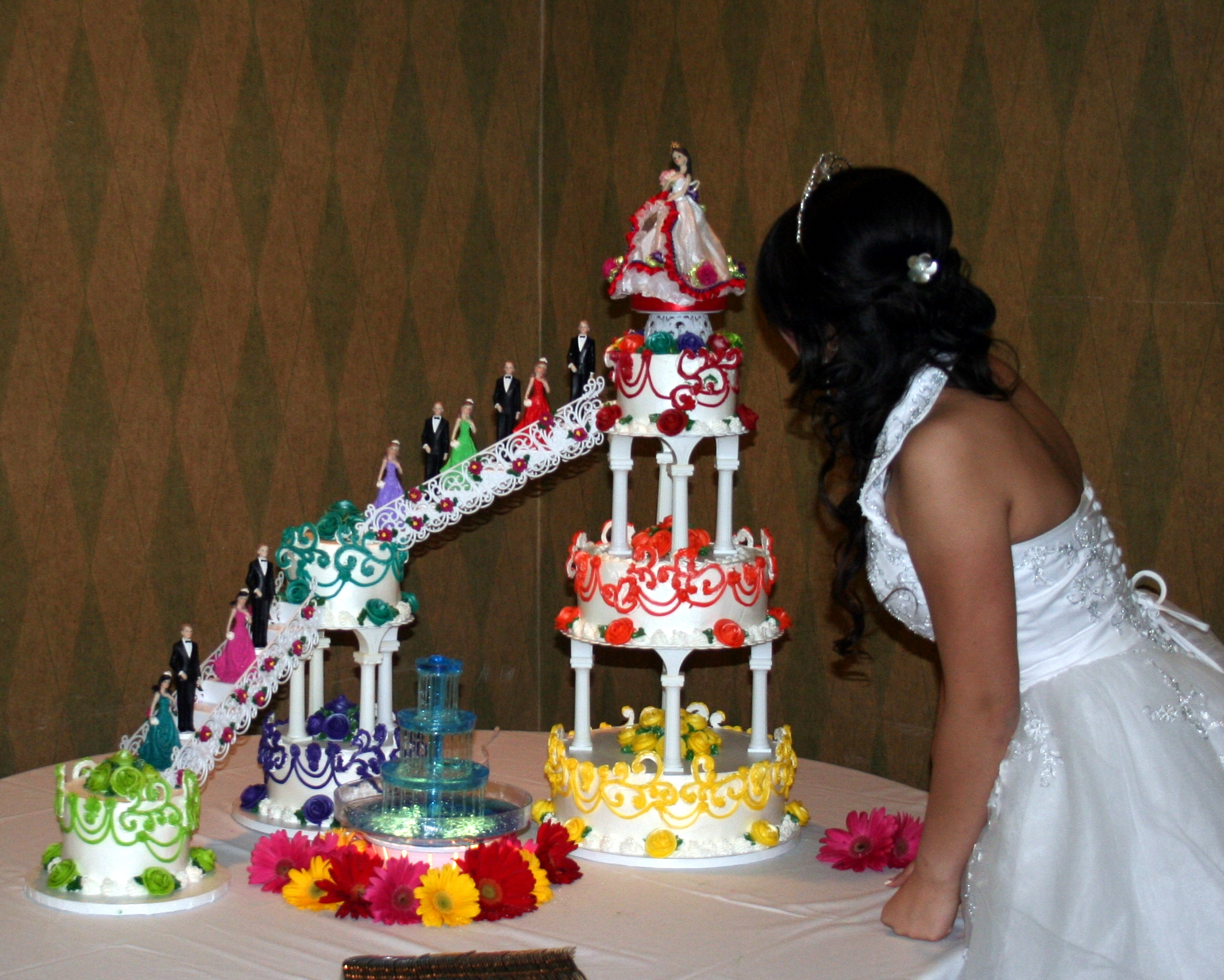 Multicolor And Multilayer Quinceanera Cake