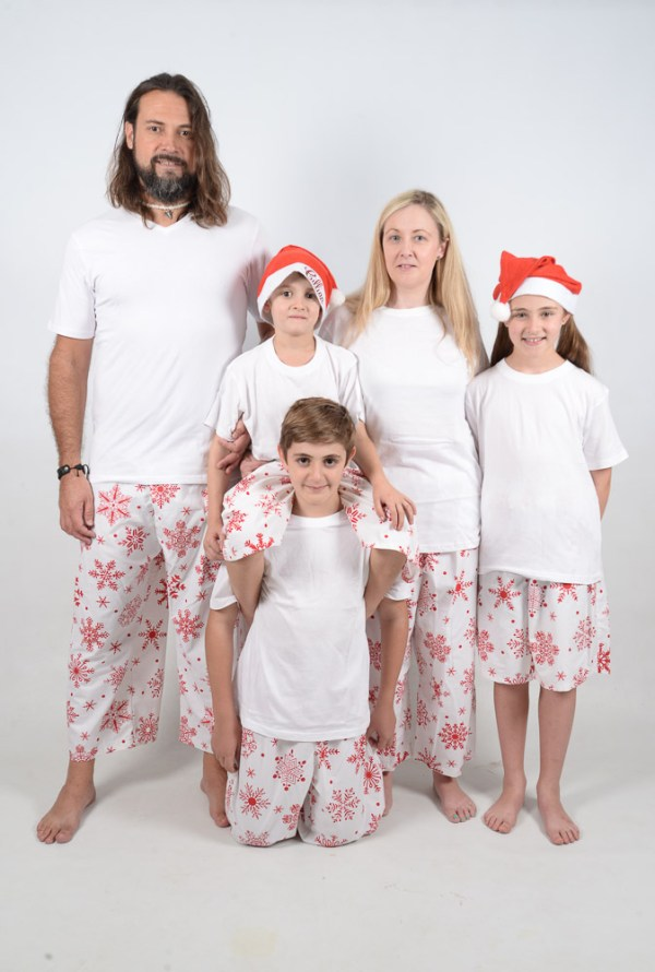 White and Red Snowflake Jammies Family