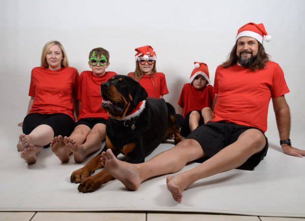 Family Xmas Red and Green Jammies dog 2