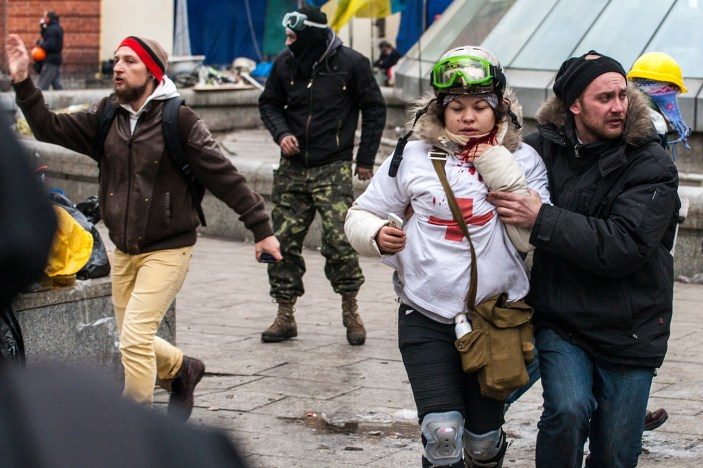 Olesya Zhukovska, a 21-year-old volunteer medic. was hit in the neck by a sniper bullet 20.02.2014