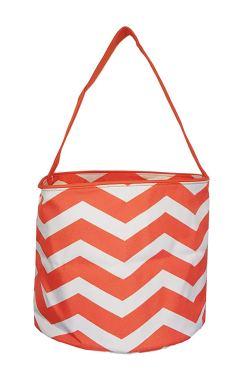 Orange and white chevron halloween basket