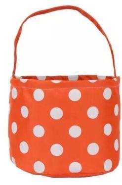 Orange and white polkadot basket