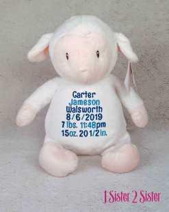 Lamb plush toy with birth stats.