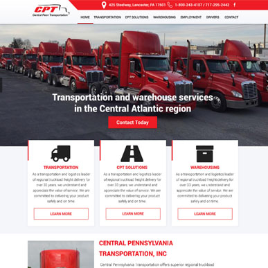 Custom WordPress Theme design for a transportation website.