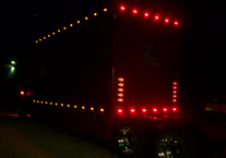 Night trailer lights on custom hauler