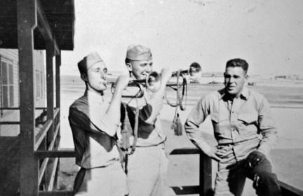 "Ronald Palmer, Field Music Harold Fritz, ""Tiny"" Jowers. 1943."