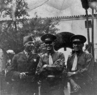 "Kenneth Gann, George Smith, ""Mother"" Geesaman on liberty in Los Angeles."