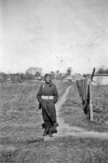On guard. It got cold, even in North Carolina! New River, 1942.
