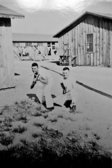 Bob McCabe and JJ Franey clown around at Parris Island.