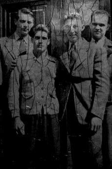 Enlistment day at the Philadelphia Court House, 1942. The men at center, Eddie Lykins and George Smith, would serve with Company A 24th Marines.