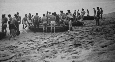 Company A training with rubber boats at Aliso Beach, Camp Pendleton.