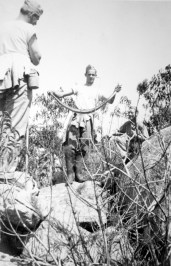 """""""When we got to Pendleton, we pulled in there on the train late Saturday night and they told us on Sunday morning just to get the lay of the land. There must have been literally a thousand snakes, and this is one of the thousands!"""" - George Smith"""