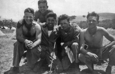 Franey's mortar squad, led by Wilbur Plitt. From left, Claude Henderson, Leo Ksiekievicz, Bill Imm, Plitt, and Edward Hackett