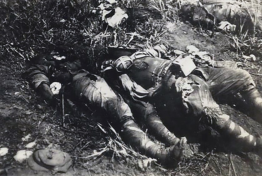 Dead Japanese soldiers, probably on Iwo Jima.