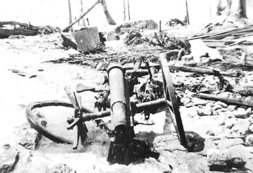 A blasted Japanese field piece, possibly on Namur.