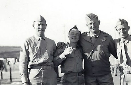 """At Camp Pendleton, """"M. Naha, Offer, Barr and Stewart."""" Charles Barr and Robert Stewart were C Company marines. Offer was a corpsman. The sergeant, """"Naha,"""" is unknown."""