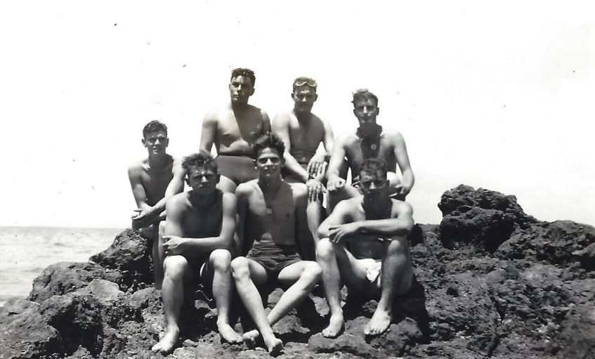 A swimming party. Back row: Flores, Middlewood, Klauss. Front row, two unknowns, Danhauer, and Swartz.