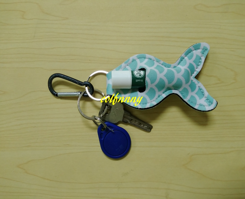 20pcs/lot Free shipping 13*6cm Mermaid Neoprene Keychain Holder Decoration Lipstick holder For party gift 8 colors C01