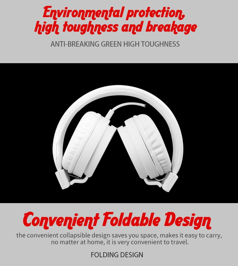 BASS Headphones, Lightweight Stereo Foldable Wired Headphones for Kids Adjustable Headband Headset for Phones Computer PC Music