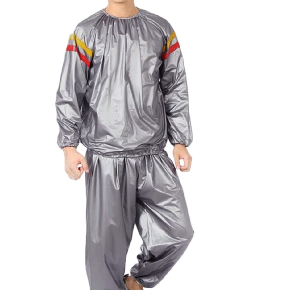 PVC Fitness Clothes Sports Suit Red And Yellow Sweating Sauna Clothes Slimming Suit Dropshipping 2019 New Sports Suit