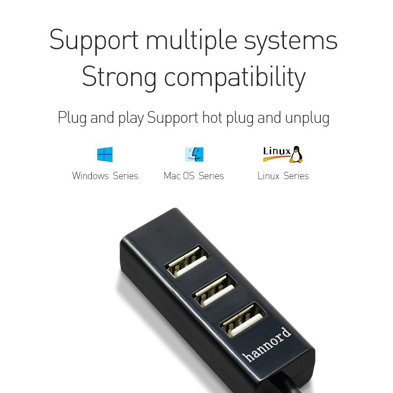 HANNORD 4-Port USB 2.0 HUB Mini USB Spliter Hub Adapter Black/White High Speed Hub USB Adapter For PC Computer Accessories