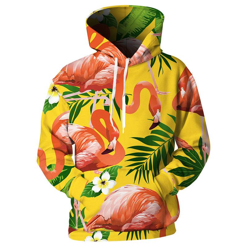 3D Printed Plus Size Tropical Printed Hoodie