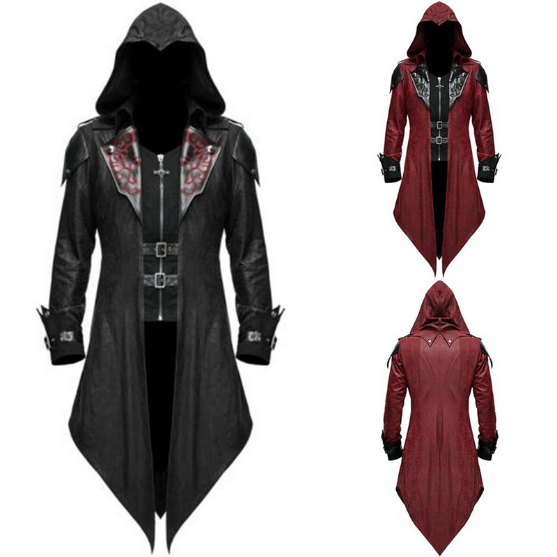 Vintage Halloween Hoody Costumes Men Long Sleeve Steampunk Jacket Gothic Swallow-Tail Coat Cosplay Costume Long Assassin Uniform