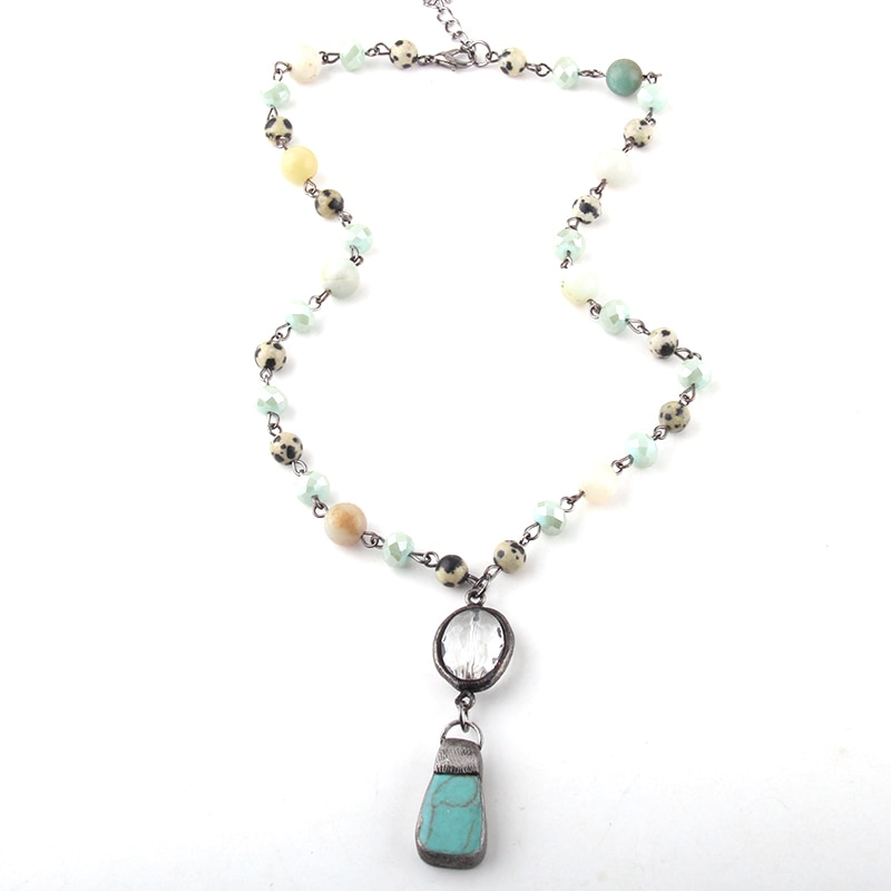 Stone & Crystal Glass Chain Stone Pendant