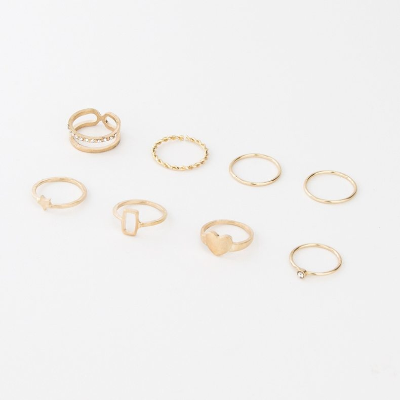 8 Pcs/set Women Fashion Rings Retro Simple Geometric Five-Pointed Stars Love Heart Ring Set Female Wedding Jewelry For Girls