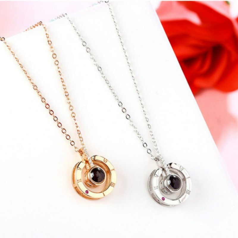 Necklace That Says I Love You In 100 Languages Rose Gold Heart Memory Necklaces & Pendants Wedding Valentines Day Gifts