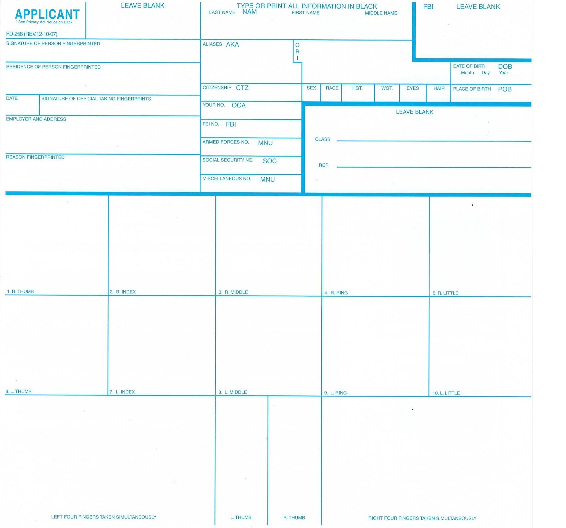 FD 258 FINGERPRINT CARDS PDF DOWNLOAD