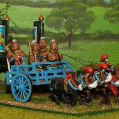 28mm warring states chinese General in 4 Horse Chariot.
