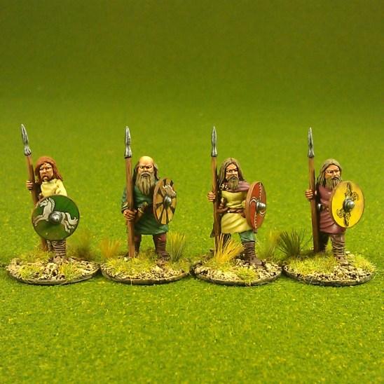Duguth, (Veteran warriors), standing, bareheaded, spears(4)