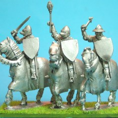 28mm hundred years war Mounted Knights, sword arm raised barded horses III